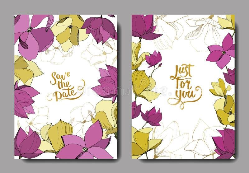 Flores bot?nicas de la magnolia del vector P?rpura y arte grabado amarillo de la tinta Casarse la frontera decorativa floral de l libre illustration