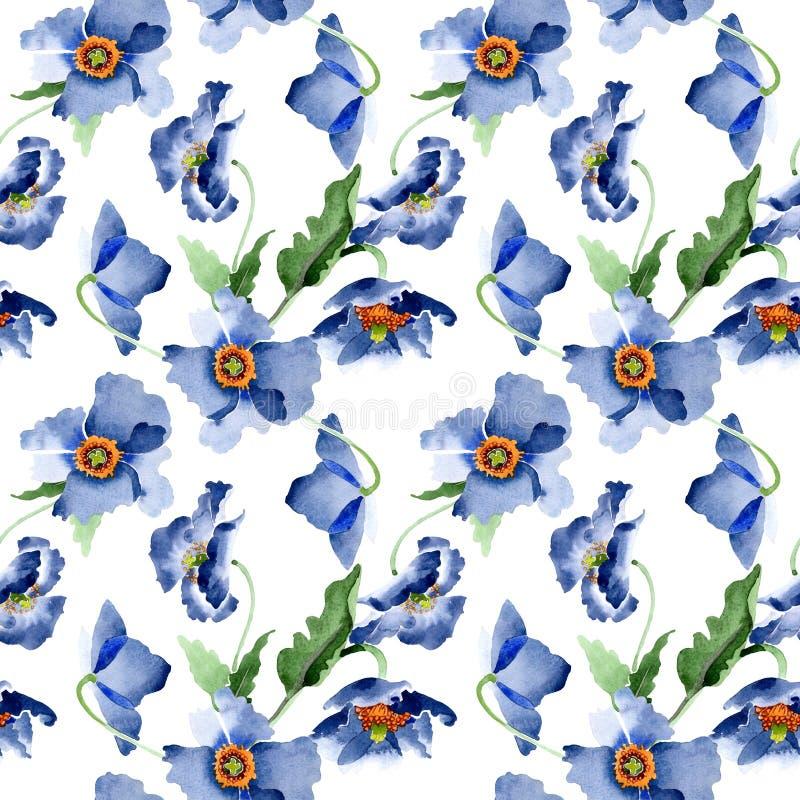 Flores bot?nicas florais da papoila azul Grupo da ilustra??o do fundo da aquarela Teste padr?o sem emenda do fundo ilustração royalty free