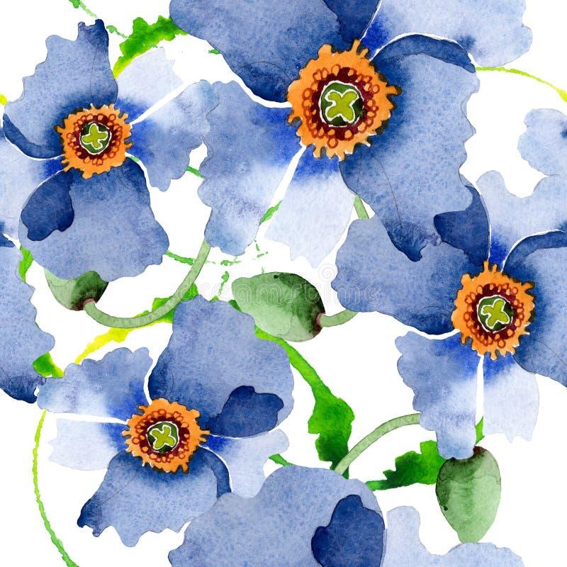 Flores bot?nicas florais da papoila azul Grupo da ilustra??o do fundo da aquarela Teste padr?o sem emenda do fundo ilustração stock