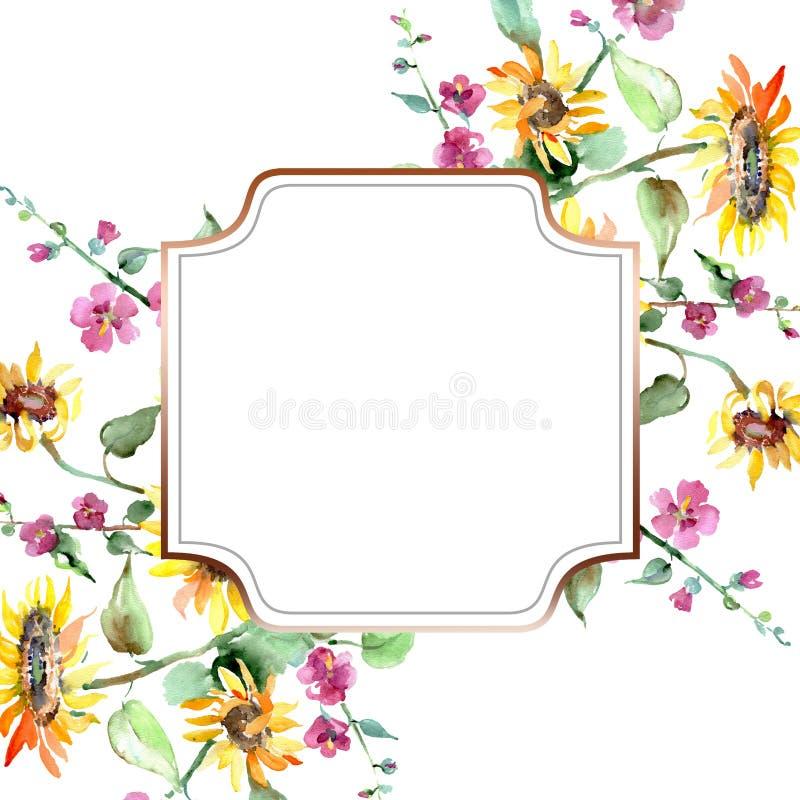 Flores bot?nicas florais do ramalhete do girassol Grupo da ilustra??o do fundo da aquarela Quadrado do ornamento da beira do quad ilustração do vetor