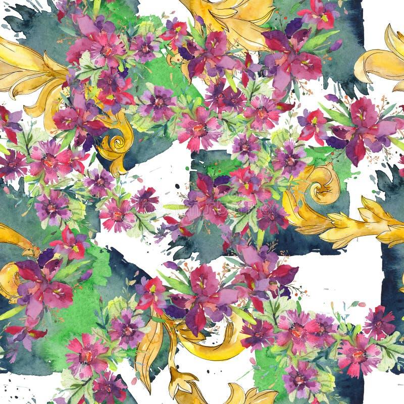 Flores bot?nicas florais do ramalhete Grupo da ilustra??o do fundo da aquarela Teste padr?o sem emenda do fundo ilustração stock