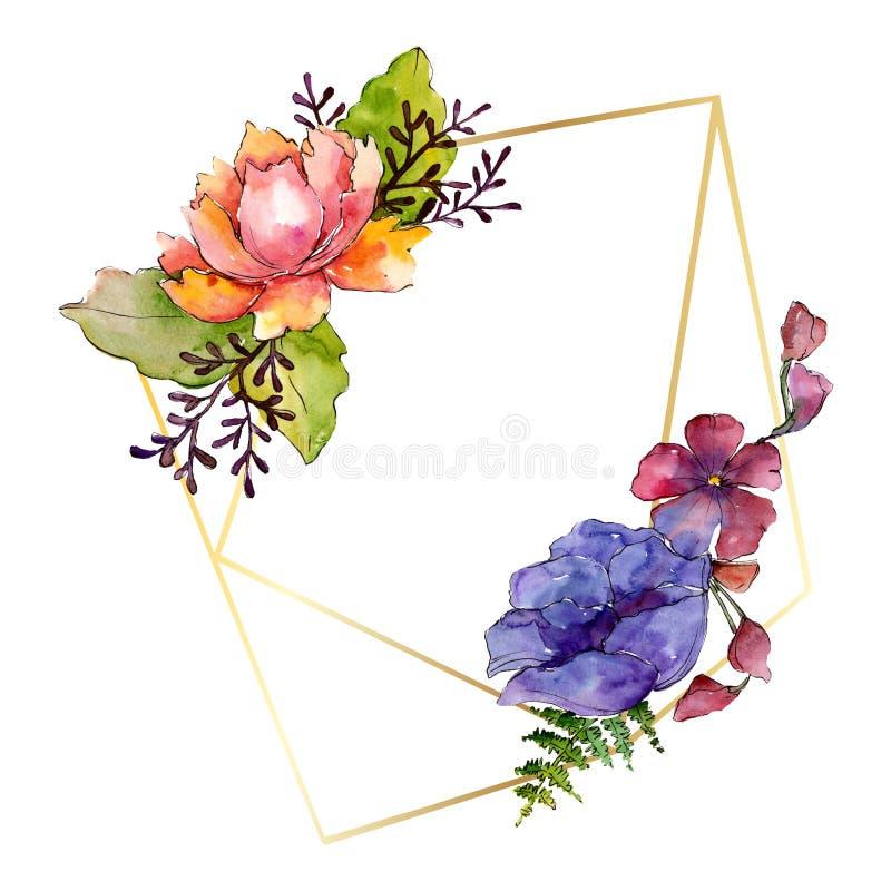 Flores bot?nicas florais do ramalhete roxo azul Grupo da ilustra??o do fundo da aquarela Quadrado do ornamento da beira do quadro foto de stock