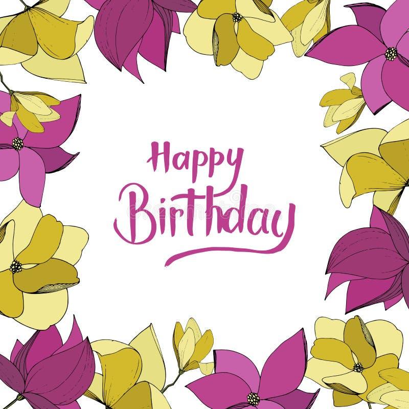Flores bot?nicas florales de la magnolia del vector P?rpura y arte grabado amarillo de la tinta Cuadrado del ornamento de la fron stock de ilustración