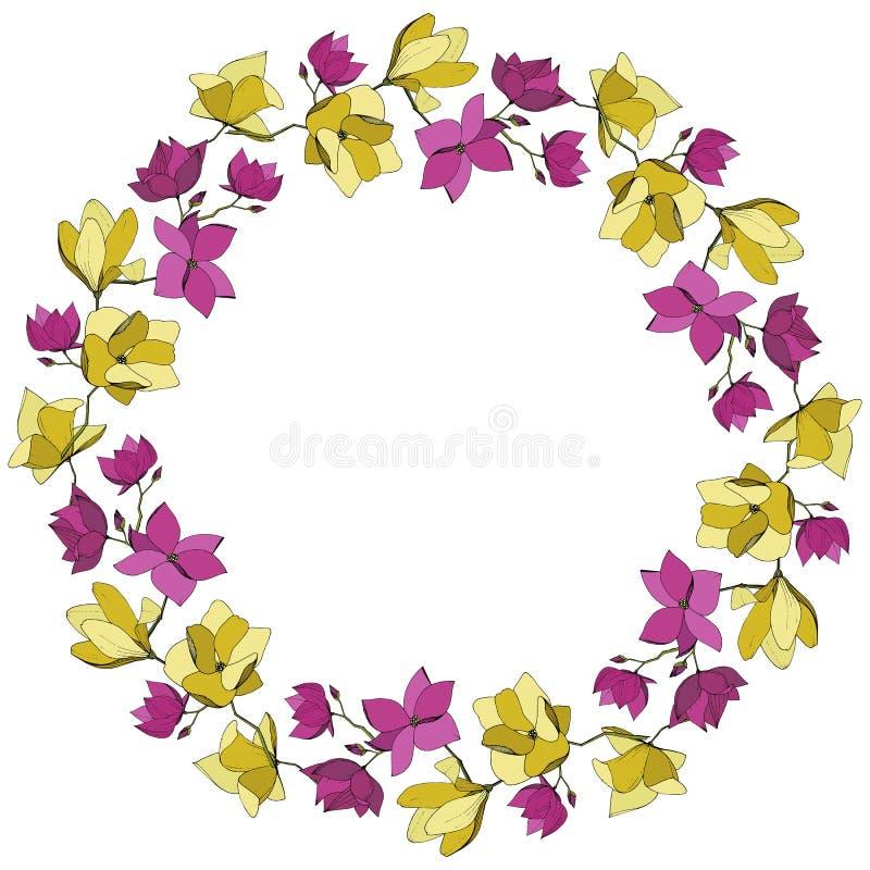 Flores bot?nicas florales de la magnolia del vector P?rpura y arte grabado amarillo de la tinta Cuadrado del ornamento de la fron libre illustration