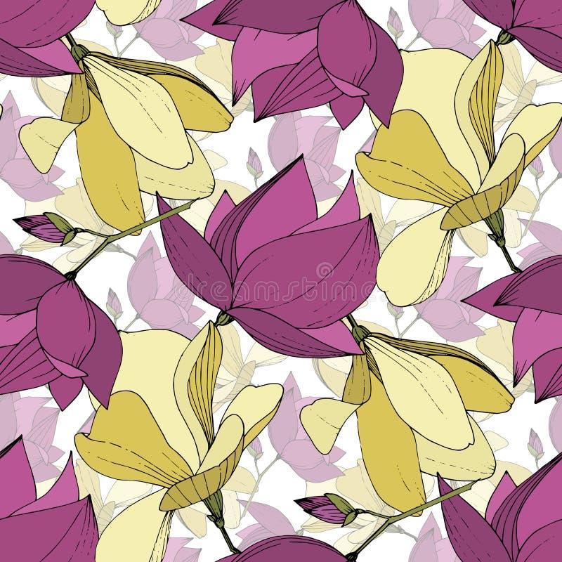 Flores bot?nicas florales de la magnolia del vector P?rpura y arte grabado amarillo de la tinta Modelo incons?til del fondo stock de ilustración