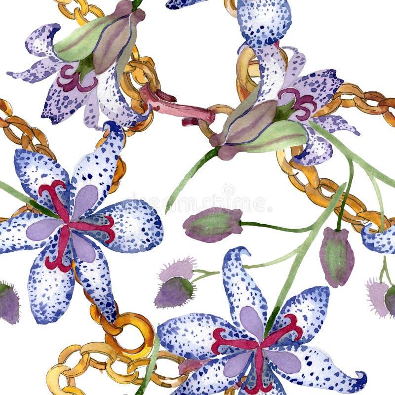 Flores bot?nicas florales de Tricyrtis Sistema del ejemplo del fondo de la acuarela Modelo incons?til del fondo stock de ilustración