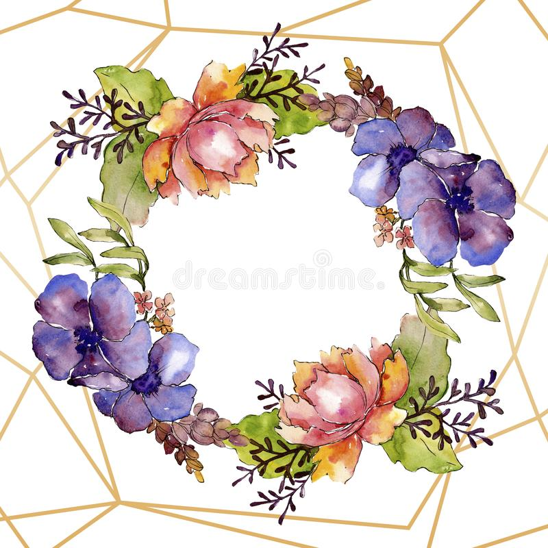 Flores bot?nicas florales del ramo p?rpura azul Sistema del ejemplo del fondo de la acuarela Cuadrado del ornamento de la fronter imágenes de archivo libres de regalías
