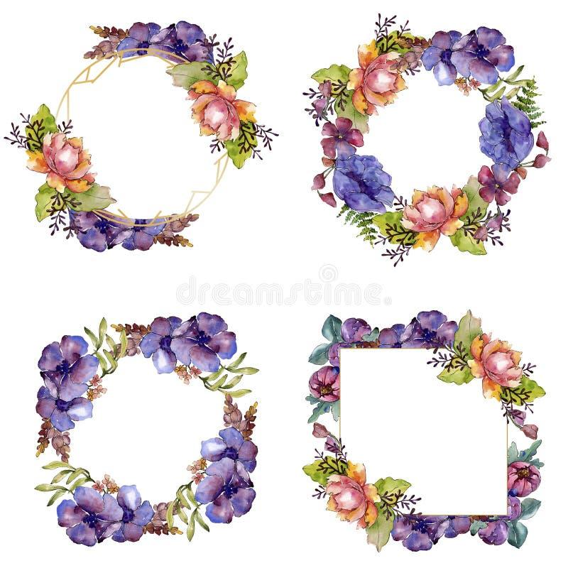 Flores bot?nicas florales del ramo p?rpura azul Sistema del ejemplo del fondo de la acuarela Cuadrado del ornamento de la fronter fotografía de archivo