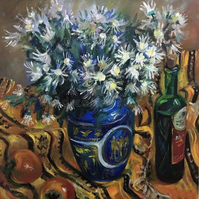 Flores brancas da camomila em um grande vaso ilustração do vetor