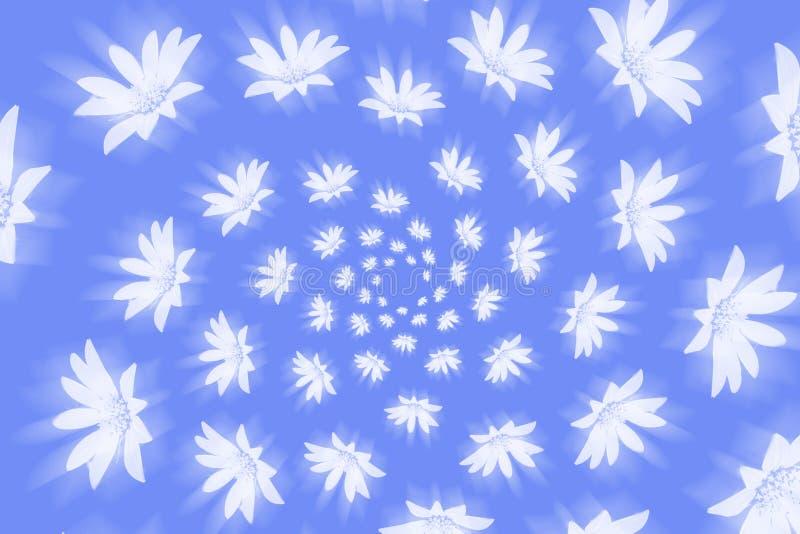 Flores brancas de brilho de ciclagem em um fundo azul ilustração stock