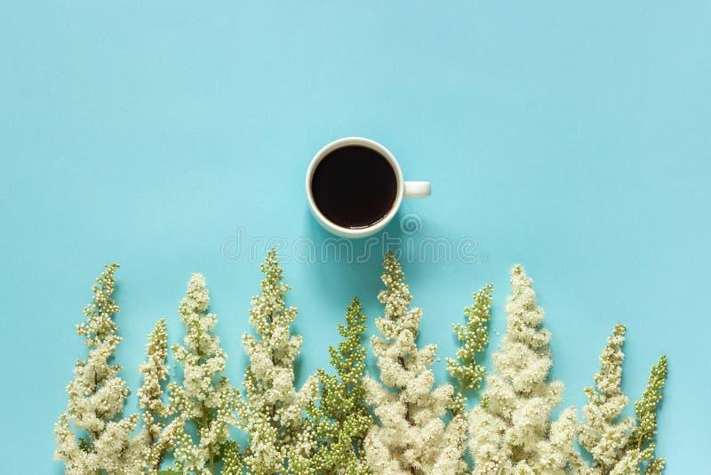 Flores brancas de florescência da xícara de café e do galho da fileira no bom dia colocado plano de papel azul do conceito da opi imagem de stock