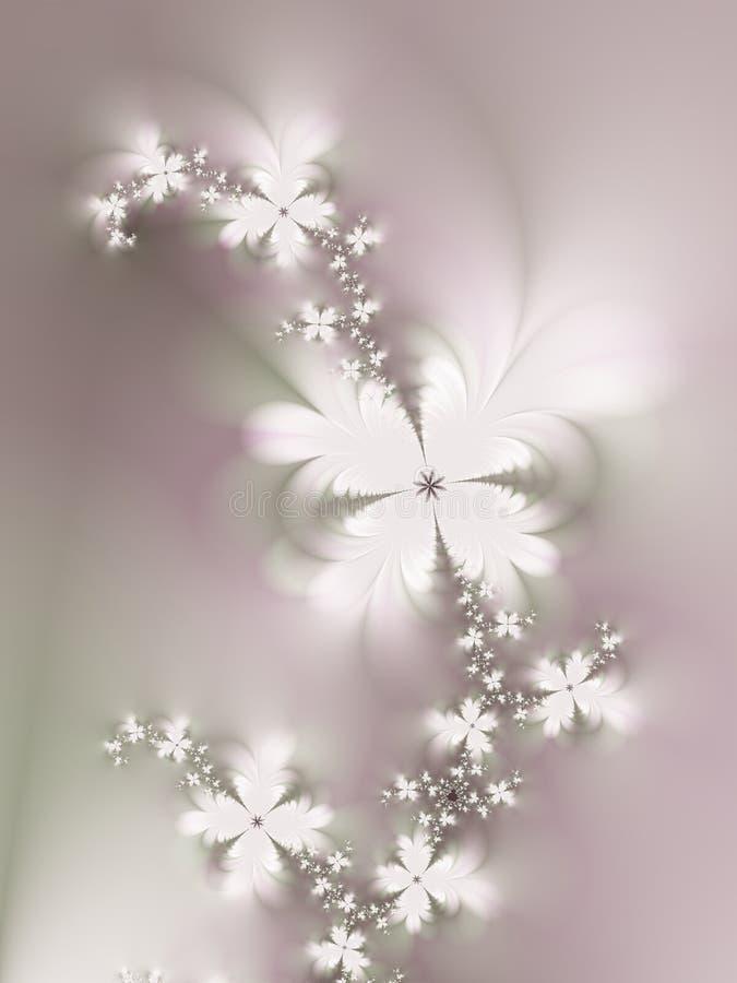 Flores brancas no Fractal da videira ilustração royalty free