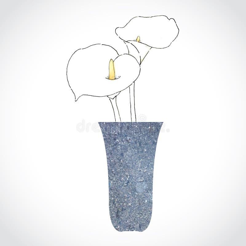 Flores brancas no potenciômetro de pedra imagens de stock royalty free