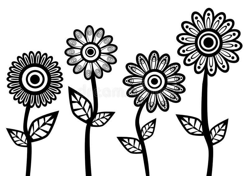 Flores brancas pretas ilustração stock