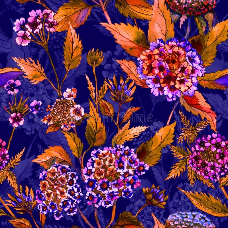 Flores brilhantes bonitas com as folhas alaranjadas na obscuridade - fundo azul Teste padrão floral sem emenda Pintura da aguarel ilustração royalty free
