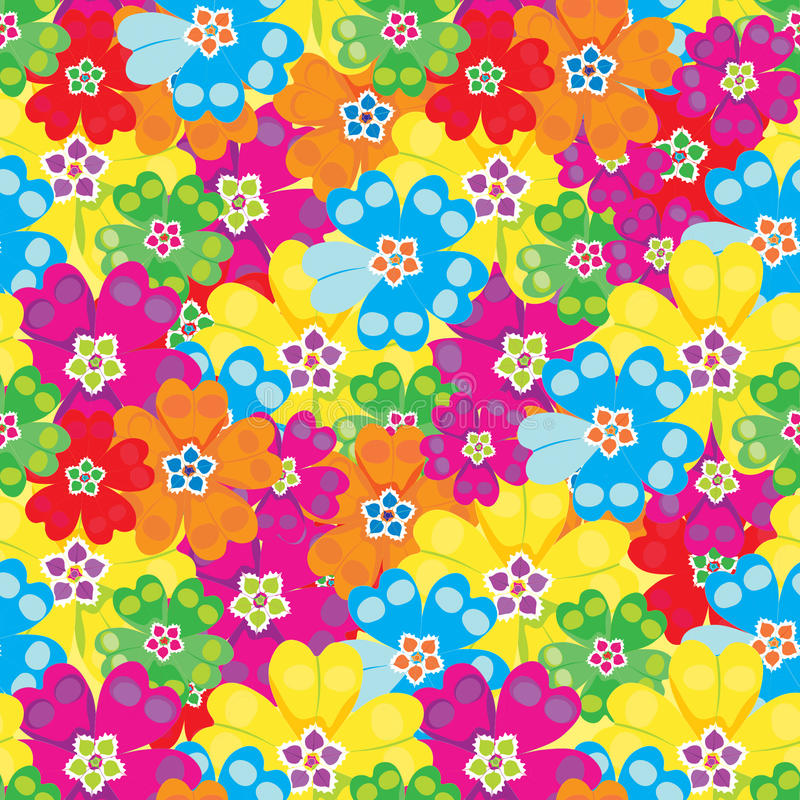 Flores brilhantes da prímula das prímulas da mola do teste padrão sem emenda Vetor ilustração royalty free