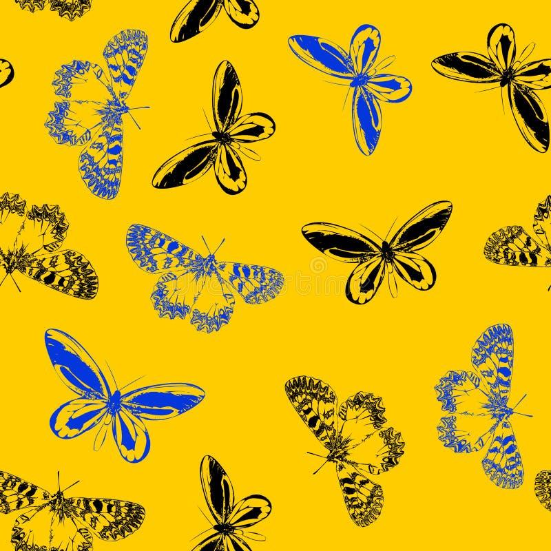 Flores brillantes del prado del verano que soplan en el viento con las mariposas suaves y modelo inconsútil apacible en el diseño stock de ilustración