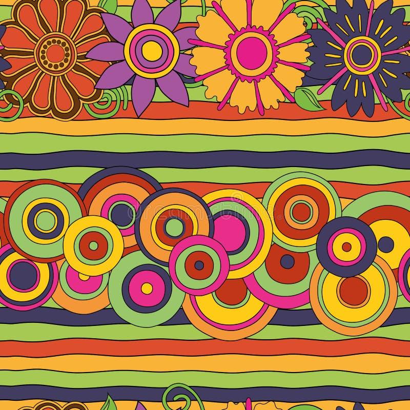Flores, círculos y líneas psicodélicos brillantes modelo inconsútil ilustración del vector