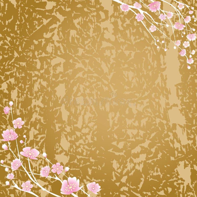 Flores cereja e fundo da textura ilustração stock