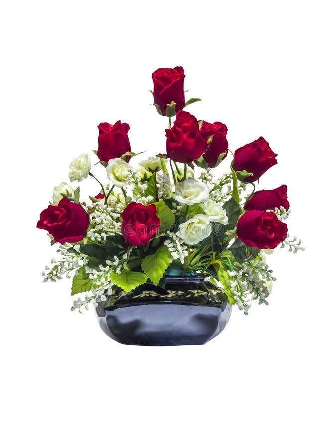 Flores color de rosa artificiales rojas y blancas hermosas fotos de archivo