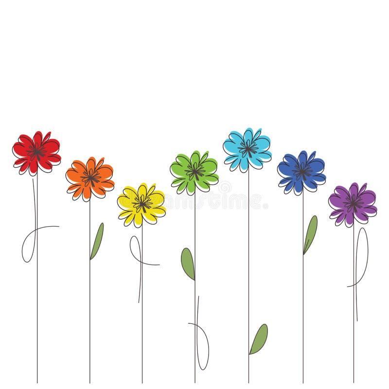 Flores coloridas ilustração royalty free
