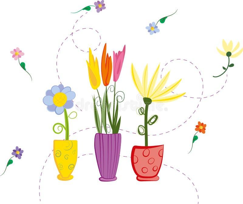 Flores coloridas da mola do vetor desenhado à mão em uns vasos isolados no fundo branco, ilustração stock