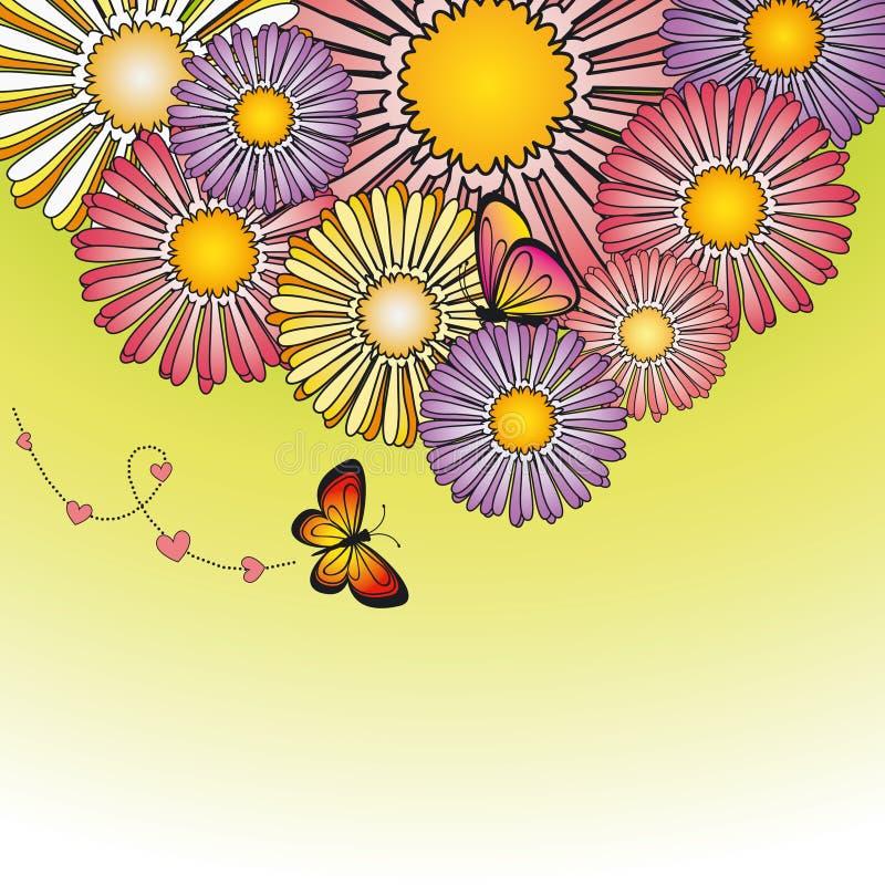 Flores coloridas de la margarita de la primavera abstracta ilustración del vector