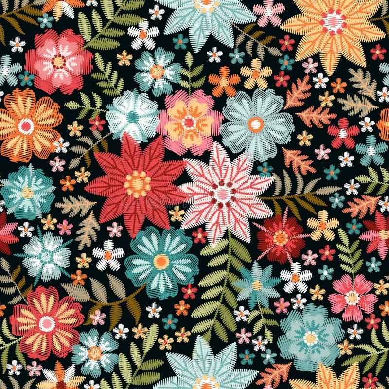 Flores coloridas del bordado Modelo inconsútil de Ditsy con el ornamento floral hermoso impresi?n de moda para la tela libre illustration