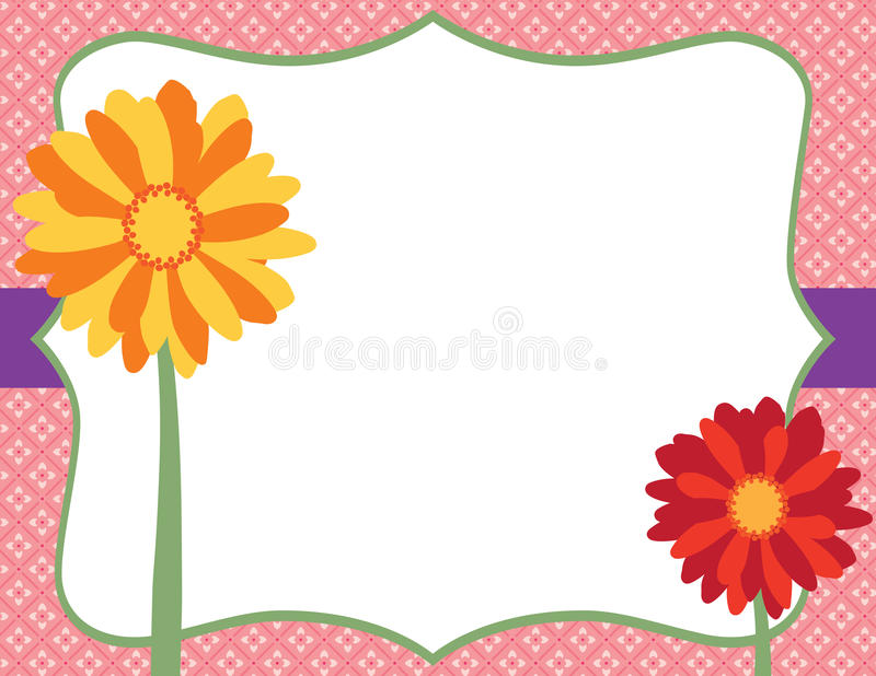 Flores coloridas delante de la etiqueta de lujo y de Backgro floral rosado fotografía de archivo libre de regalías