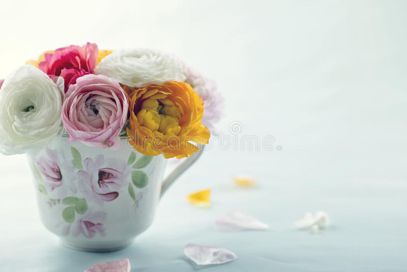 Flores coloridas do ranúnculo em um copo decorativo imagens de stock royalty free