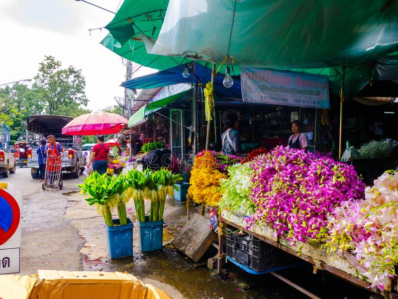 Flores coloridas en el mercado de la flor, cultura, septiembre imagen de archivo
