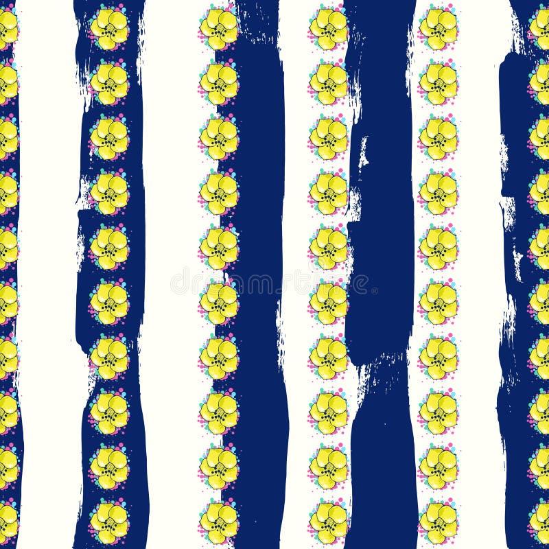 Flores coloridas exóticas en un fondo blanco-azul con las rayas ilustración del vector