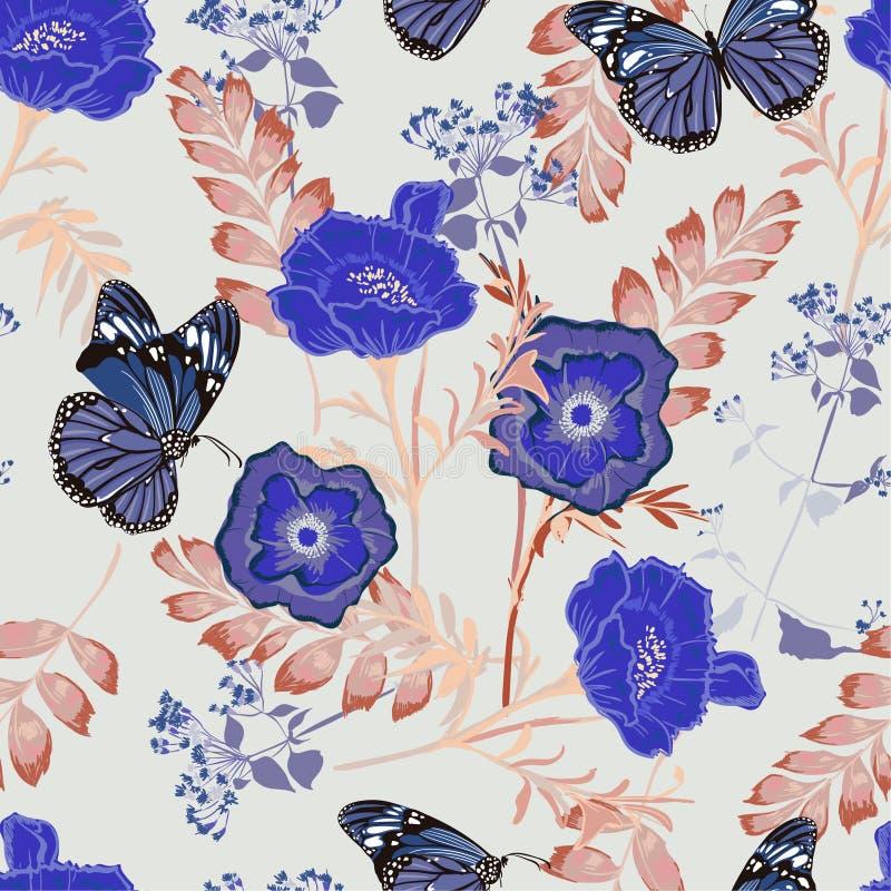 Flores coloridas florecientes del modelo inconsútil floral romántico con textura del vector de los adornos del jardín botánico de stock de ilustración