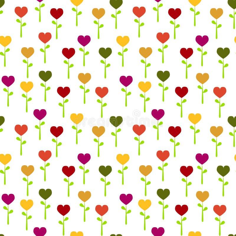 Flores coloridas inconsútiles del corazón stock de ilustración