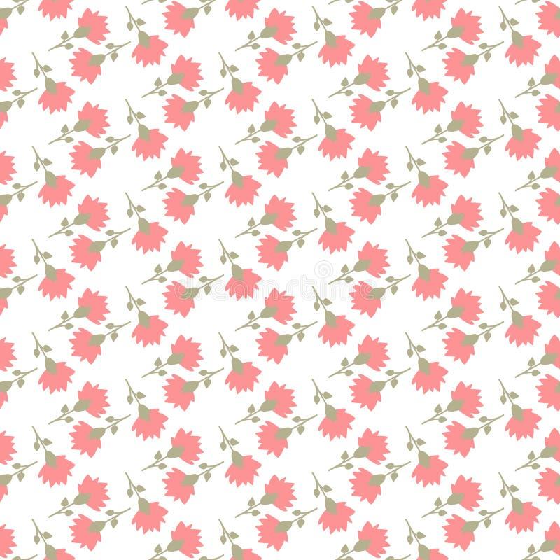 Flores coloridas no teste padrão sem emenda do fundo branco ilustração do vetor