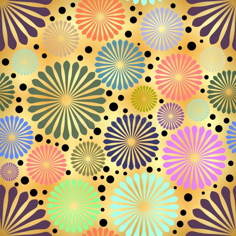 Flores coloridas sumário no fundo dourado ilustração stock