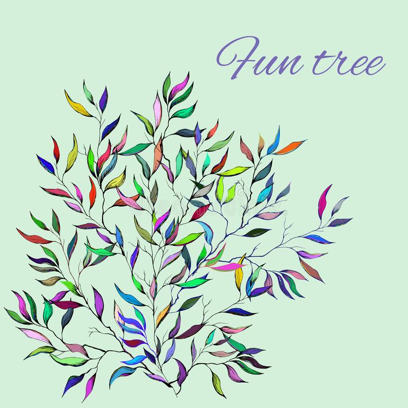 Flores coloridos desenhados à mão Esboço brilhante da mola das folhas para decorar os feriados no papel, cartões, cumprimentos Ve ilustração royalty free