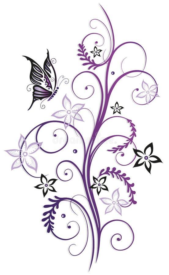 Flores com borboleta ilustração stock
