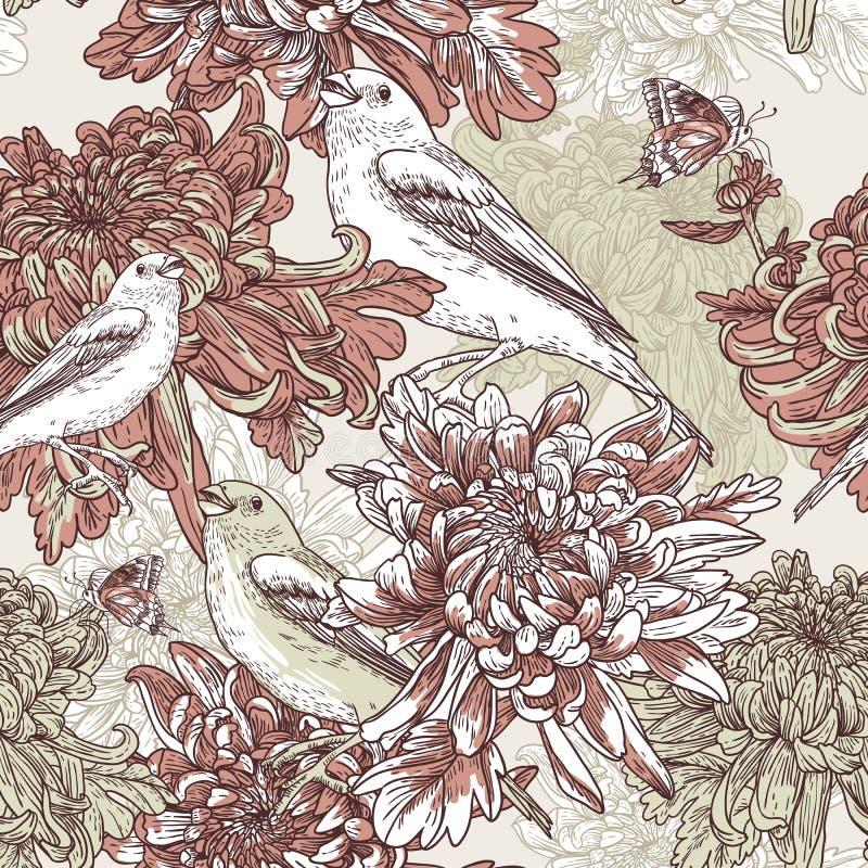 Flores com ilustração do pássaro ilustração do vetor