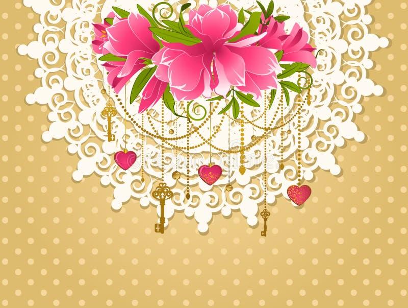Flores com ornamento do laço ilustração do vetor