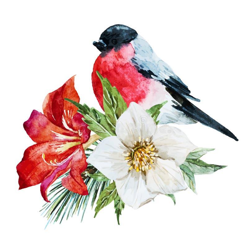 Flores com pássaro ilustração do vetor