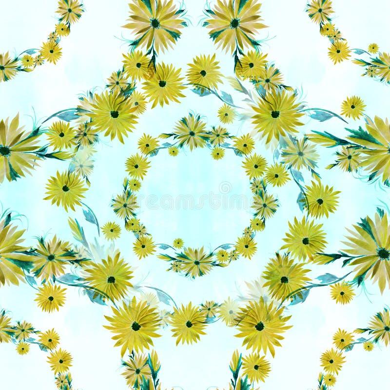Flores - composição decorativa em um fundo da aquarela Teste padrão sem emenda Use materiais impressos, sinais, artigos, Web site ilustração stock