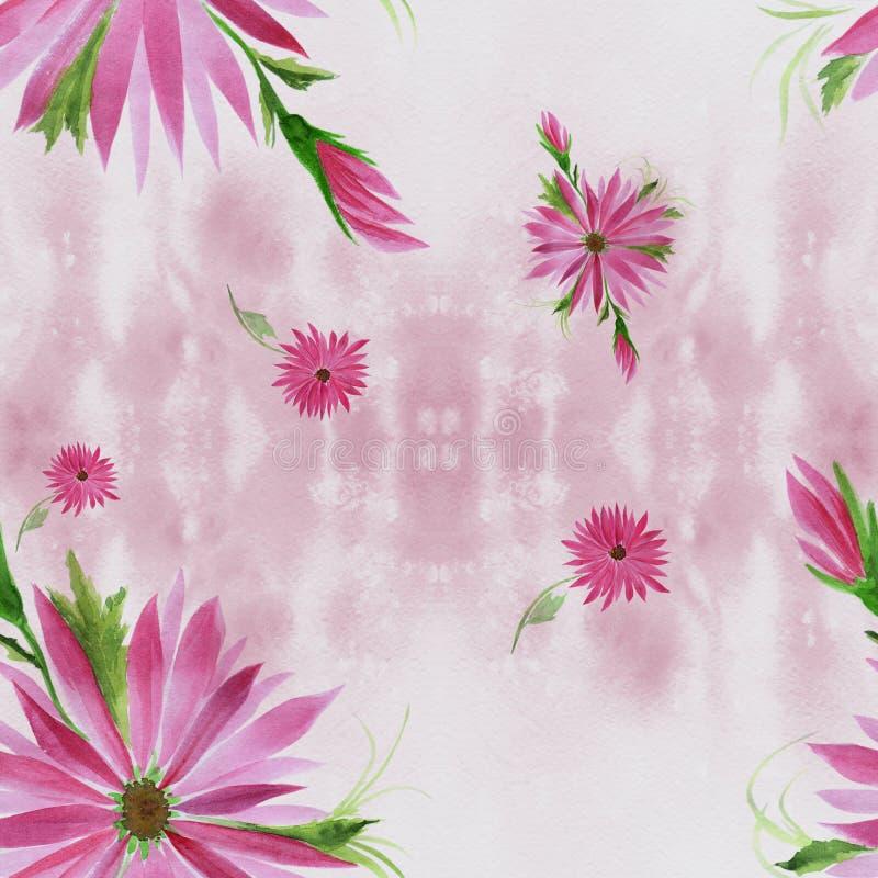 Flores - composição decorativa em um fundo da aquarela Teste padrão sem emenda Use materiais impressos, sinais, artigos, Web site ilustração do vetor