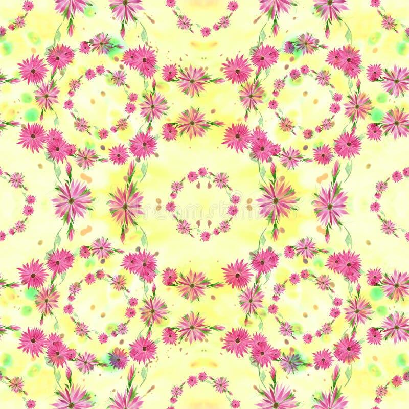 Flores - composição decorativa em um fundo da aquarela Teste padrão sem emenda Use materiais impressos, sinais, artigos, Web site ilustração royalty free