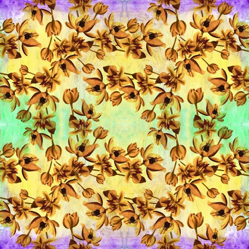 Flores - composição decorativa watercolor Teste padrão sem emenda Use materiais impressos, sinais, artigos, Web site, mapas, cart ilustração do vetor