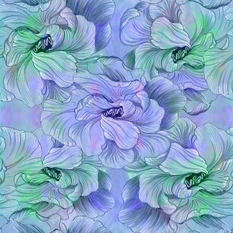 Flores - composição decorativa watercolor Teste padrão sem emenda Use materiais impressos, sinais, artigos, Web site, mapas, cart ilustração royalty free
