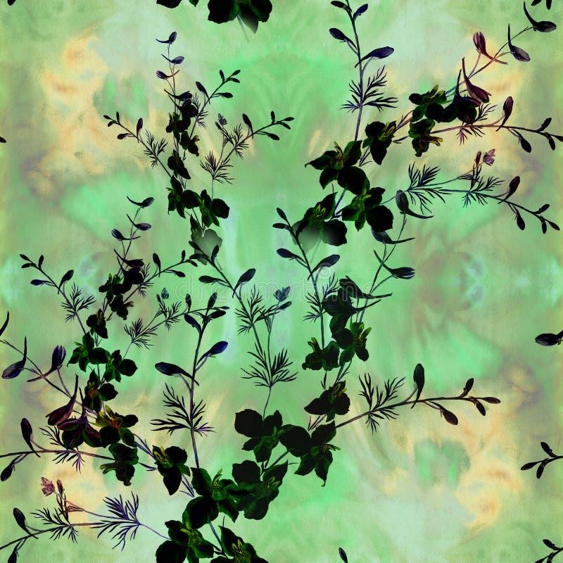 Flores - composição decorativa watercolor Teste padrão sem emenda Use materiais impressos, sinais, artigos, Web site, mapas, cart ilustração stock