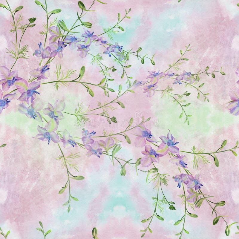 Flores - composición decorativa watercolor Modelo inconsútil Utilice los materiales impresos, muestras, artículos, sitios web, ma ilustración del vector