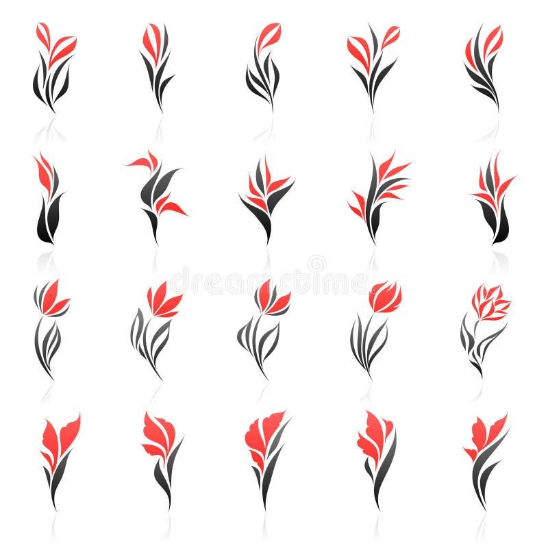 Flores. Conjunto del modelo de la insignia del vector. libre illustration