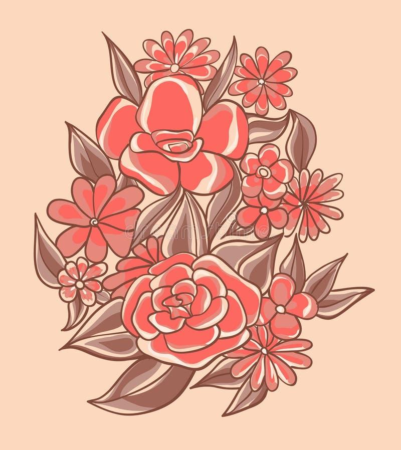 Flores consideravelmente cor-de-rosa ilustração do vetor